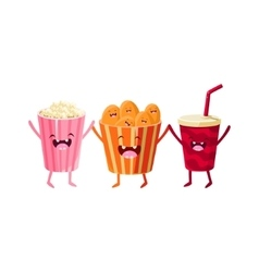 Popcorn Soda And Chips Cartoon Friends vector