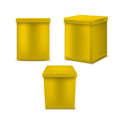 realistic detailed 3d yellow blank tin can vector image
