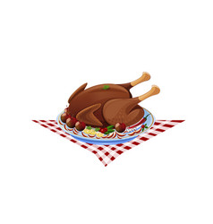 Roast turkey on a plate vector