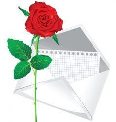 rose and envelope vector image