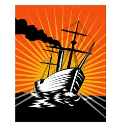 Sailing Ship Retro Woodcut vector