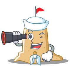 Sailor with binocular sandcastle character cartoon vector