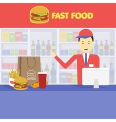 Seller fast food and tray with cola hamburger vector image