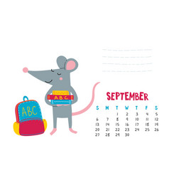 september calendar page with cute rat back to vector image