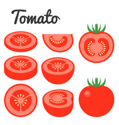 set of fruit and vegetable tomato vector image