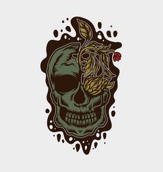 skull and flower vector image