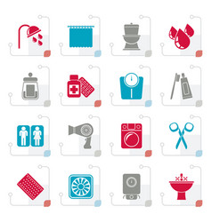 Stylized bathroom and personal care icons vector