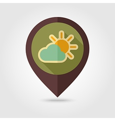 Sun and cloud retro flat pin map icon Weather vector