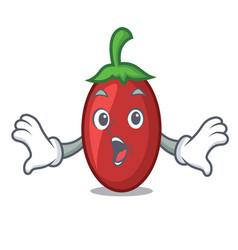 surprised goji berries mascot cartoon vector image