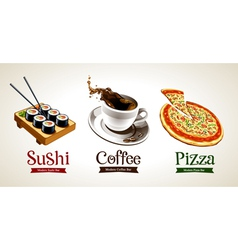 Sushi Coffee Pizza vector