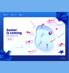 swimming pool concept people lounging and swim vector image