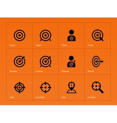 Target icons on orange background vector image