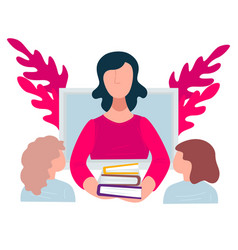 teacher and students in school education in vector image