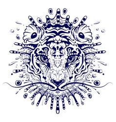 tiger head abstract drawing mandala 2022 year vector image