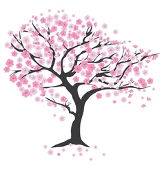 tree in the wind cherry vector image