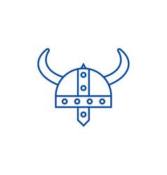 viking helmet line icon concept viking helmet vector image