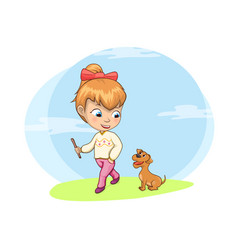 Walking dog activity of girl vector