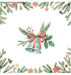 Watercolor christmas card with bell and fir vector