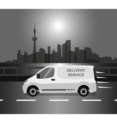 White delivery Van monochrome vector image