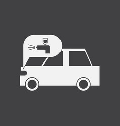 White icon on black background car and sound vector