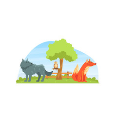 wild animals on beautiful natural landscape wolf vector image