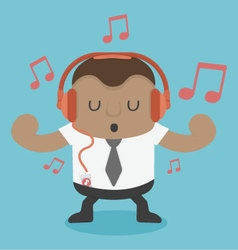 Young African businessman listening to music vector image