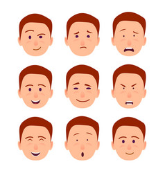 young cartoon character emotions set vector image