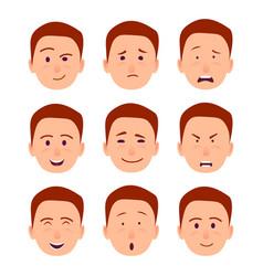 Young cartoon character emotions set vector