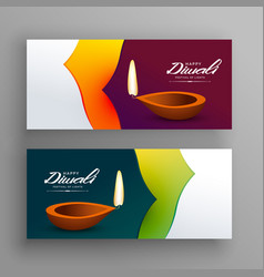 Banners for diwali indian festival greeting vector
