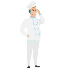 caucasian chef cook in headset with microphone vector image vector image