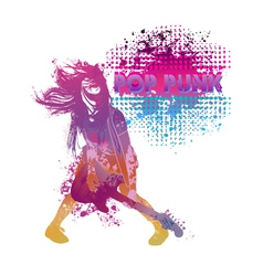 Girl playing guitar pop punk vector image vector image