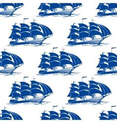 Seamless pattern of a fully rigged sailing ship vector image vector image