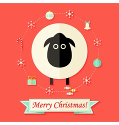 Christmas Card with Sheep over Red vector image vector image
