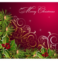 Christmas floral background vector image vector image