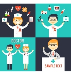 Doctors with medical icons posters vector image vector image