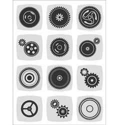 gearwheel mechanism icon set vector image