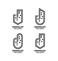 Minimalist Real estate logo design vector image vector image