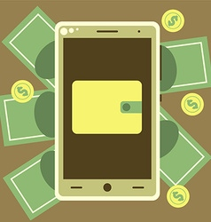 Mobile wallet with money bills and coins vector image vector image