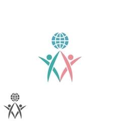 Partnership logo atlas silhouette two men vector image