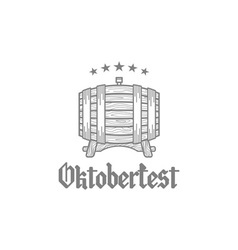Retro styled rubber stamp with beer barrel mug and vector image
