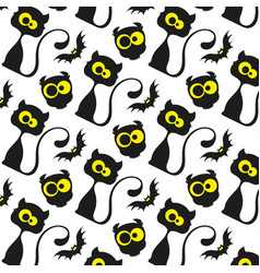 seamless pattern black cats vector image