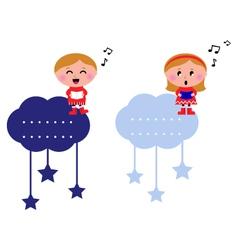 singing christmas kids vector image vector image