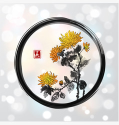 chrysanthemum flowers in black enso zen circle on vector image vector image
