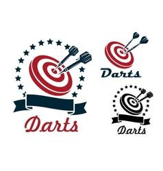Darts sporting symbols and emblems vector image vector image