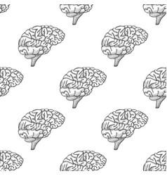 engraving brain hand drawn pattern vector image vector image