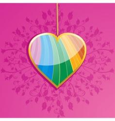 glossy rainbow valentine heart pendant vector image
