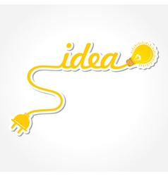 Idea word with light-bulb and electric plug vector