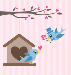 love birds valentine greeting design vector image