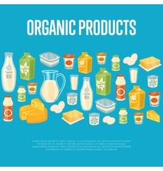 Organic products banner with dairy icons vector
