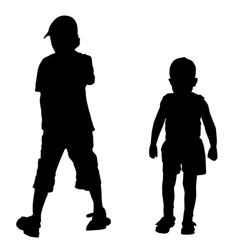 silhouettes of two boys vector image vector image